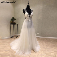 Graceful Soft Tulle Illusion Back A line Ivory Wedding Dress 2019 V neck Appliques Lace Real Wedding Gowns