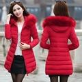 Women Winter Coat With Hood Fake Fur Collar Long Sleeve Slim Thick Warm Cotton Padded Jacket Medium Long Parkas Damesjas