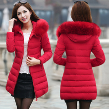Women Winter Coat With Hood Fake Fur Collar Long Sleeve Slim Thick Warm Cotton Padded Jacket Medium Long Parkas Damesjas