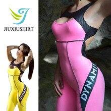 bd91dba5fa 2018 fitness yoga esporte terno jumpsuit mulheres carta sexy sem mangas  ginásio roupas sportswear feminino quick dry conjuntos d.
