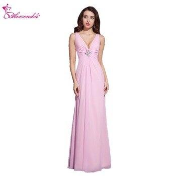 Alexzendra Light Pink A Line Double V Neck Chiffon Long Prom Dresses Simple Evening Dresses Party Dresses Plus Size