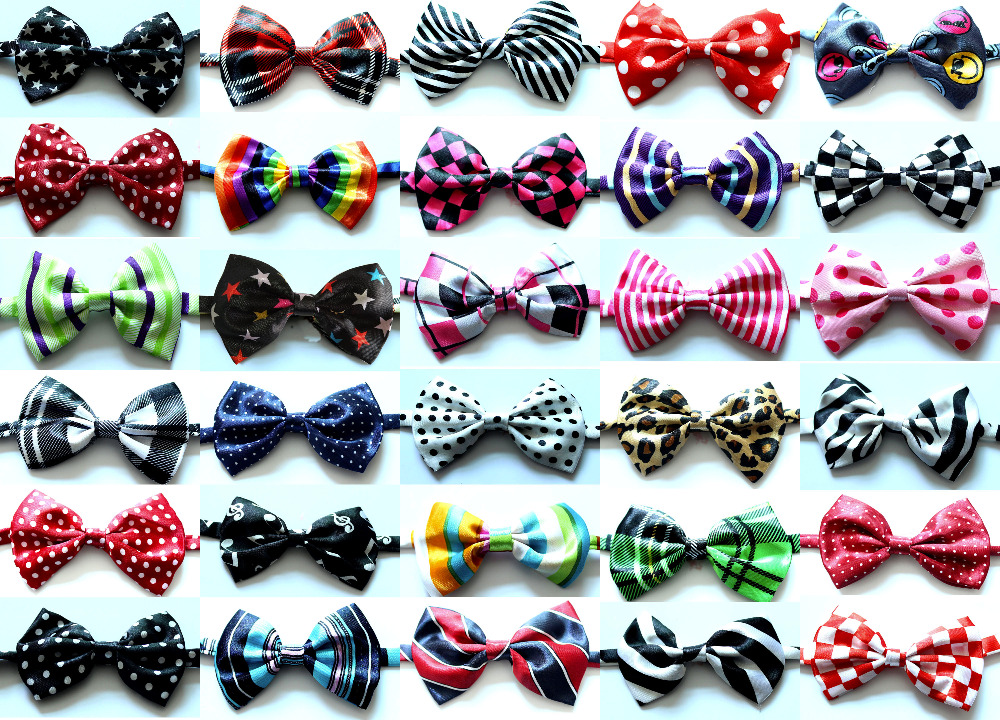 100pcs Dog Pet Bowties Various Pattern Bowknot Adjustable Dog Neck Tie Collars Pet Grooming Supplies