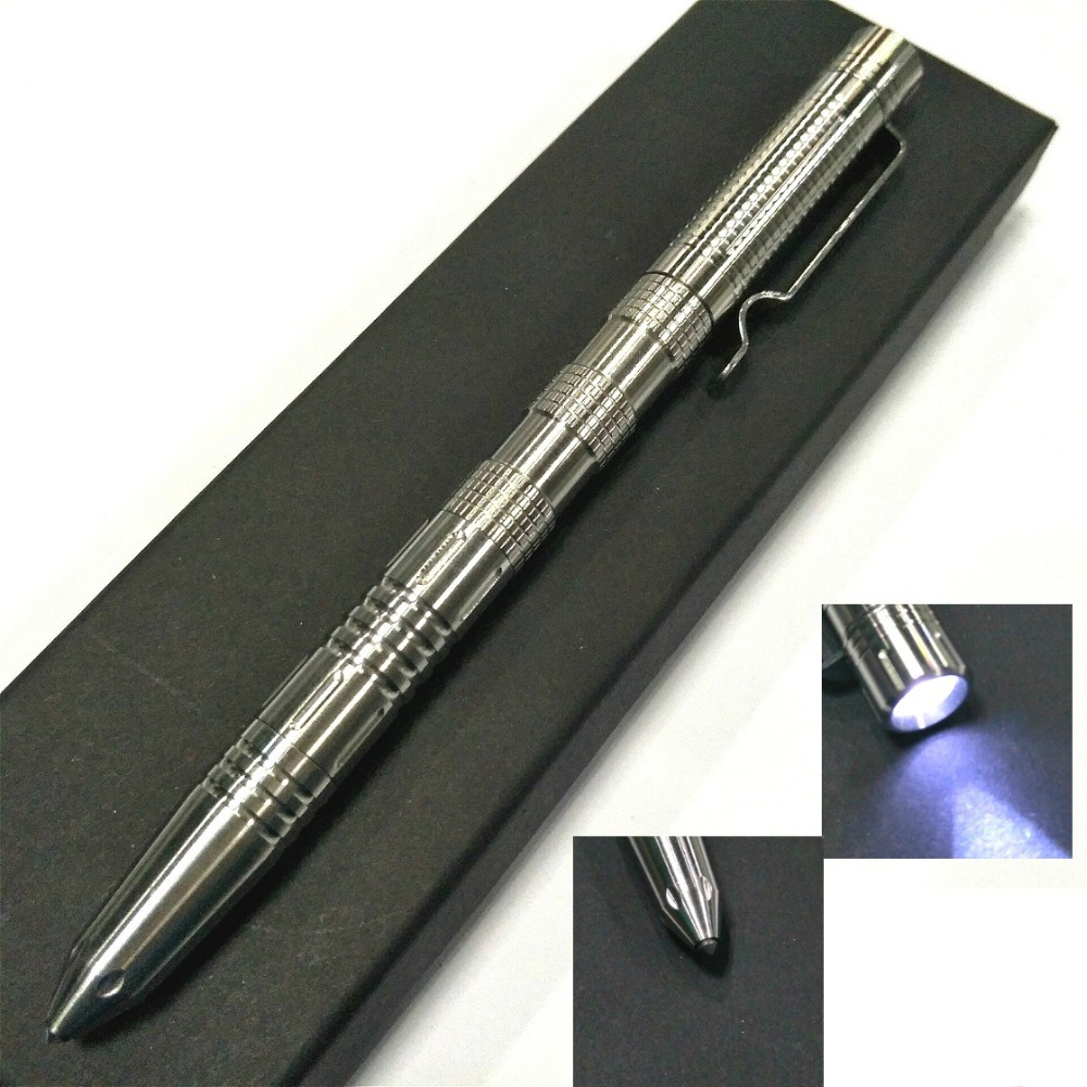 EDC LED Flashlight Tungsten Steel Head Stainless Steel Tactical Pen Outdoor Self - Defense Multi - Functional Defense Equipment oumily stainless steel outdoor self defense tactical pen w led light silver