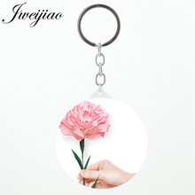 JWEIJIAO Simple flower Stock keychains Purse Mirror Cartoon fairy gift espejo de maquillaje with silver metal keychains KL47(China)