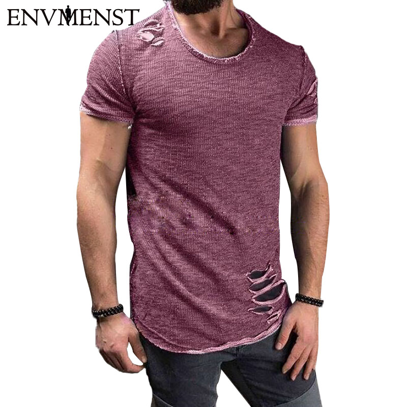 166f6c023c0 2017 Envmenst Cotton Men s T shirt Vintage Ripped Hole Hip Hop t-shirt Men Fashion  Casual Top Tee Men Mineral Washed Activewears