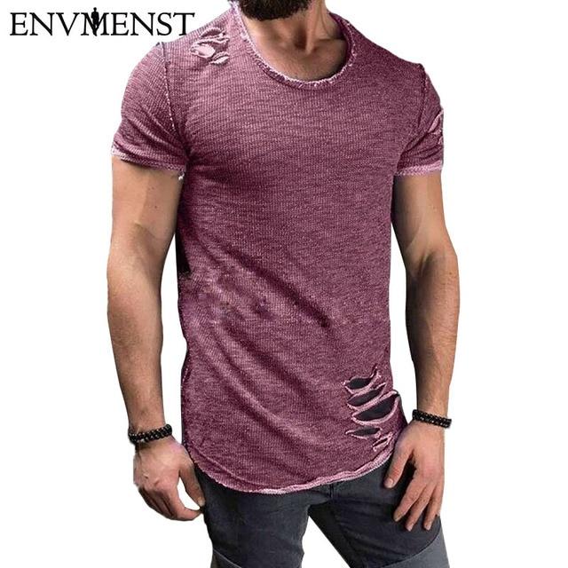 2017 Envmenst Cotton Men's T shirt Vintage Ripped Hole Hip Hop t-shirt Men Fashion Casual Top Tee Men Mineral Washed Activewears