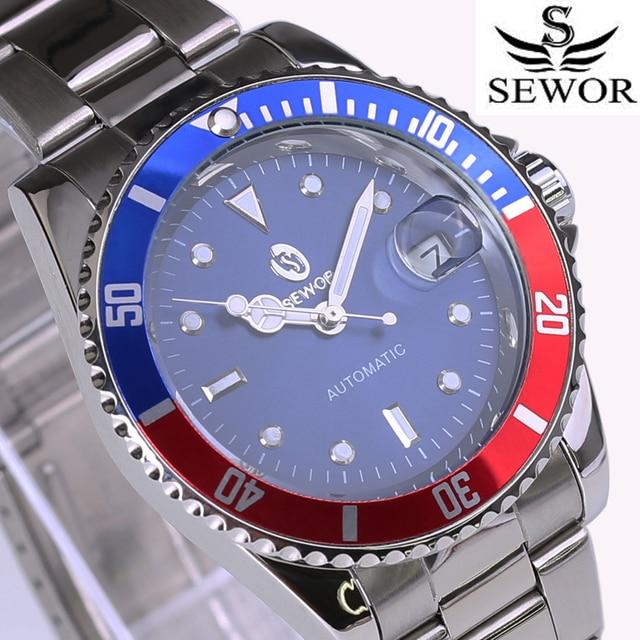 cd1f419563f Sewor marca top azul red bezel homens relógio militar esportes casual masculino  relógios mecânicos automáticos de