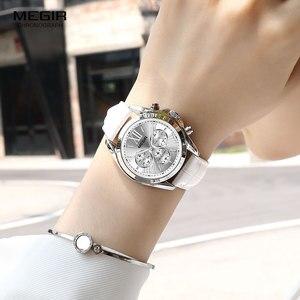 Image 5 - MEGIR2019 Neue Luxus Leder Uhr Frauen Weibliche Top Marke Chronograph Quarz Armbanduhr Dame Relogios Femininos Uhr 2114 Weiß