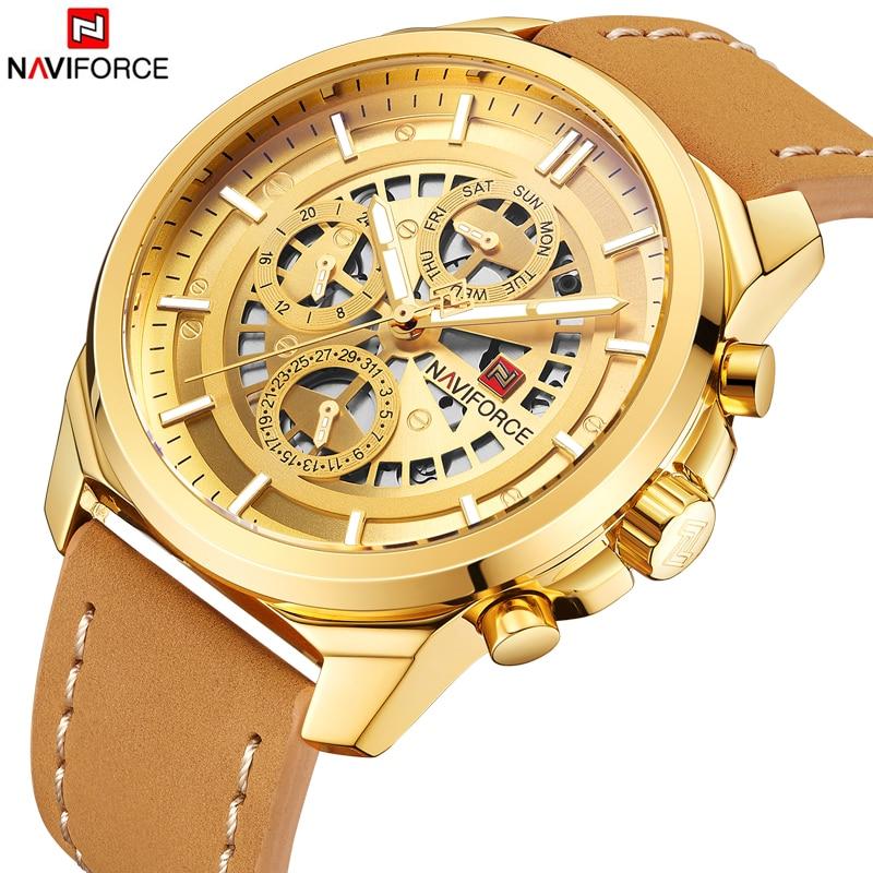 NAVIFORCE Top Luxury Brand Sport Analog Quartz Wrist Watch Fashion Leather Golden Male Clock Luxury Men Watch Relogio Masculino