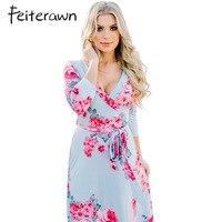 Feiterawn Women Blooming Flower Print Wrap V Neck Maxi Dress Boho Fashion Casual Soft Jersey Knit
