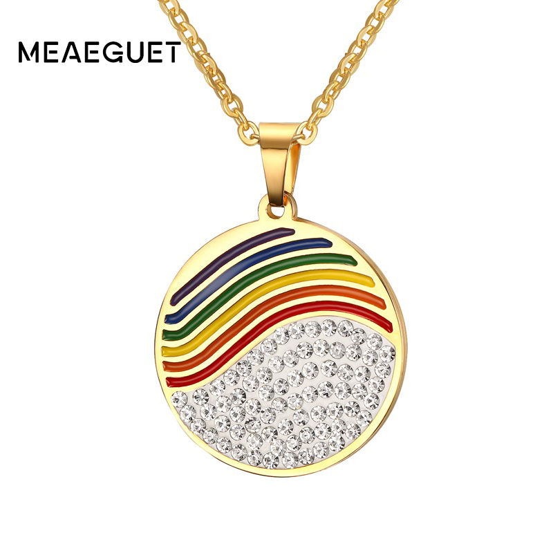 Meaeguet LGBT Trendy Heart Rainbow Pendant Necklaces For Women Round Rhinestone Stainless Steel Jewelry 50CM Chain