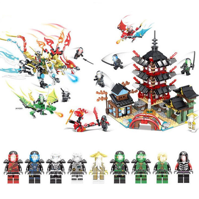 1326PCS Ninjaos Temple of Ninjagoes Blocks Set Toy Compatible with Legoings Ninja Movie Building Brick Toys For Children 1326pcs ninjaos temple of ninjagoes blocks set toy compatible with legoings ninja movie building brick toys for children