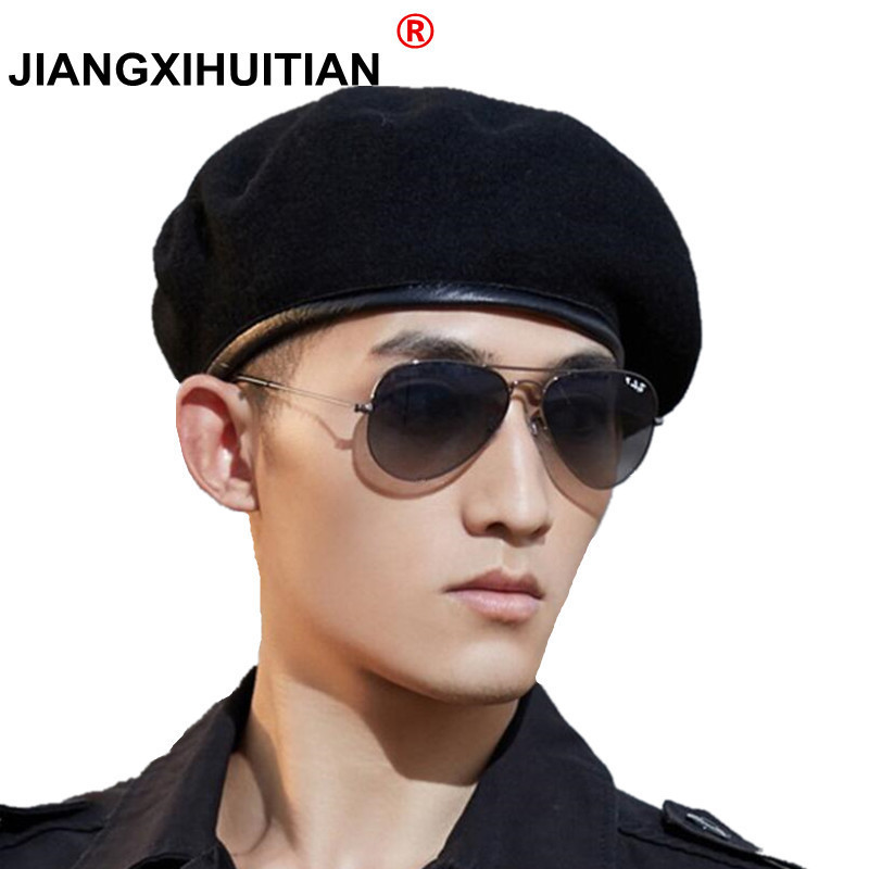 52d4ac9343e7a 2018 Men and Women Outdoor Breathable Pure Wool Beret Hats Caps Special  Forces Soldiers Death Squads Military Training Camp Hat-in Berets from  Apparel ...