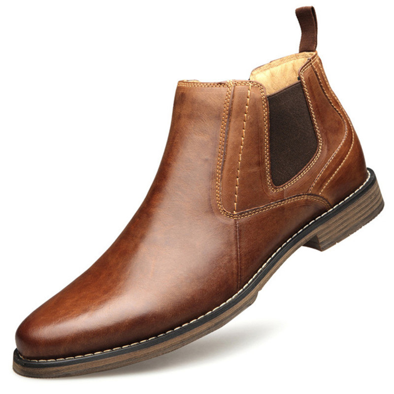 Hiver Nouveau Chelsea homme Bottes Cheville bottes En Cuir Véritable bottes Homme sans lacet décontracté Martin bottes mâle Grande taille chaussures pour hommes