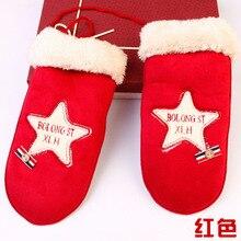DoreenBow Fashion Women Man Winter Warm Gloves Fur Cashmere Velvet SuedeStar Christmas Gloves Couple Gift 1 Pair