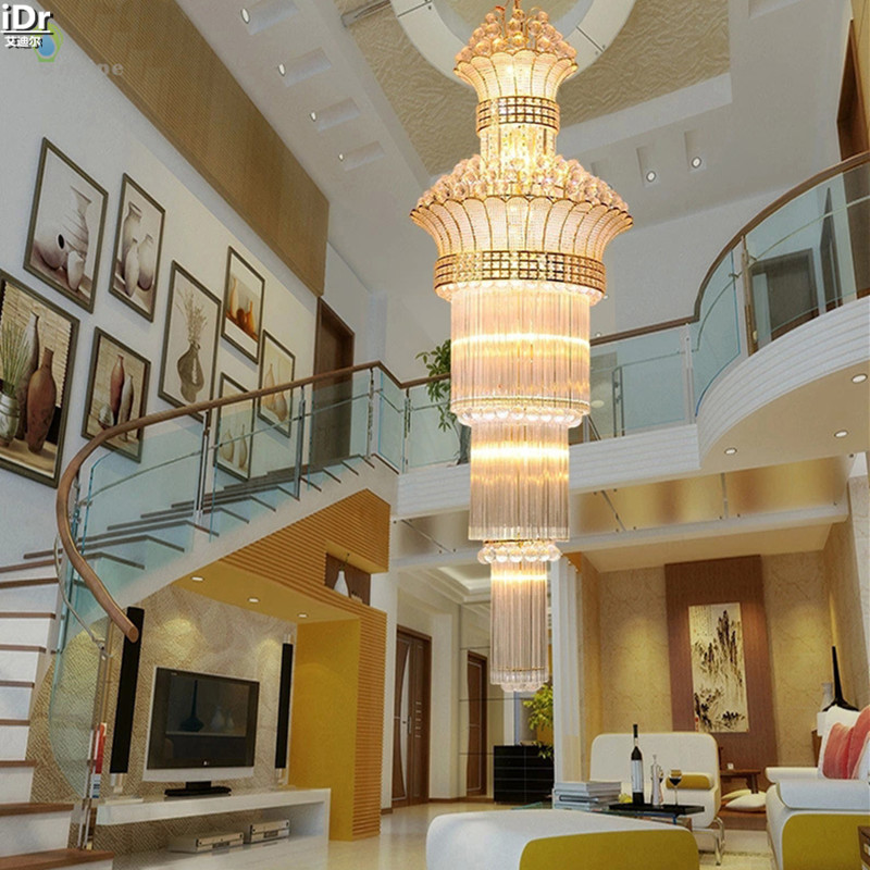 Image 2 - Modern and simple crystal lamp golden double stair lights luxury crystal chandelier living room headlights Chandeliers Lmy 020-in Chandeliers from Lights & Lighting