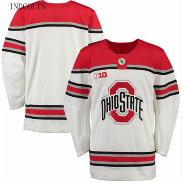 INDCOLTS Ohio State Buckeyes University Mens Hockey Jersey White Throwback  Embroidery Stitched Custom any Number and name Jersey 5c493abe1