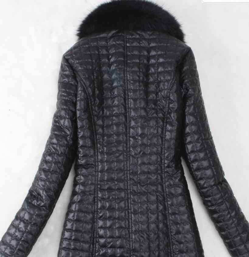 2020 女性のフェイクファーコートロングオーバーコート女性人工キツネの毛皮ビッグ毛皮の襟の pu 上着毛皮 1 暖かい革スリムジャケット