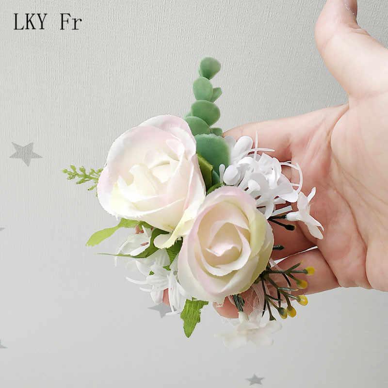 Lky FR Pernikahan Pergelangan Tangan Korsase Gelang Pengantin Pergelangan Tangan Korsase Pernikahan Gelang Bridesmaid Bunga Mariage Pernikahan Saksi Aksesoris