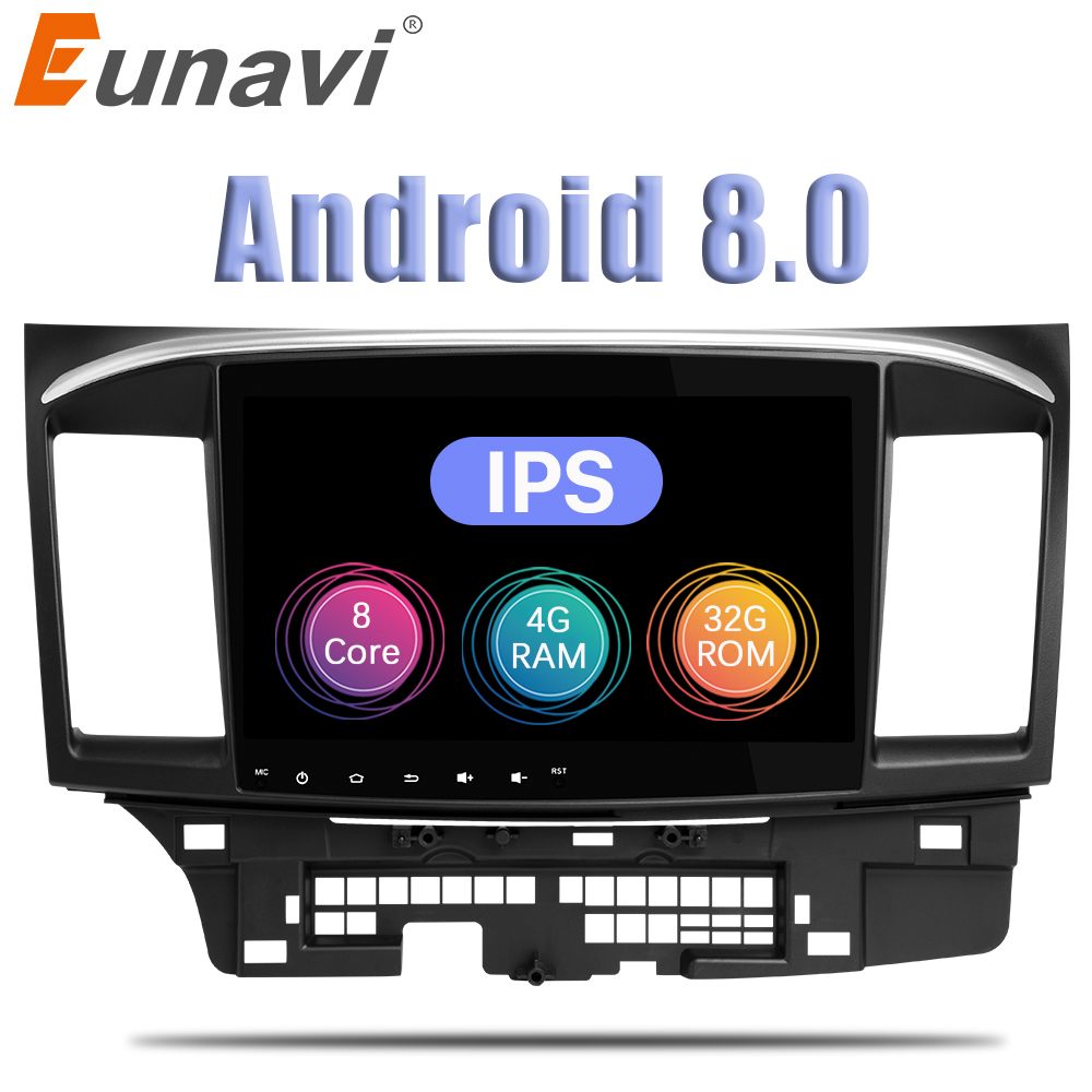 Eunavi Octa core Android 8.0 Car Radio for Mitsubishi Lancer stereo 9 inch 2 DIN 4G RAM GPS navi video player Capacitive screen цена 2017
