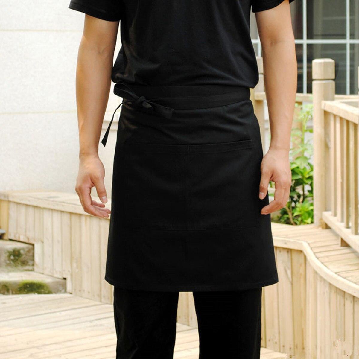 White half apron australia - Universal Unisex Women Men Kitchen Cooking Waist Apron Short Apron Waiter Chef Apron With Double