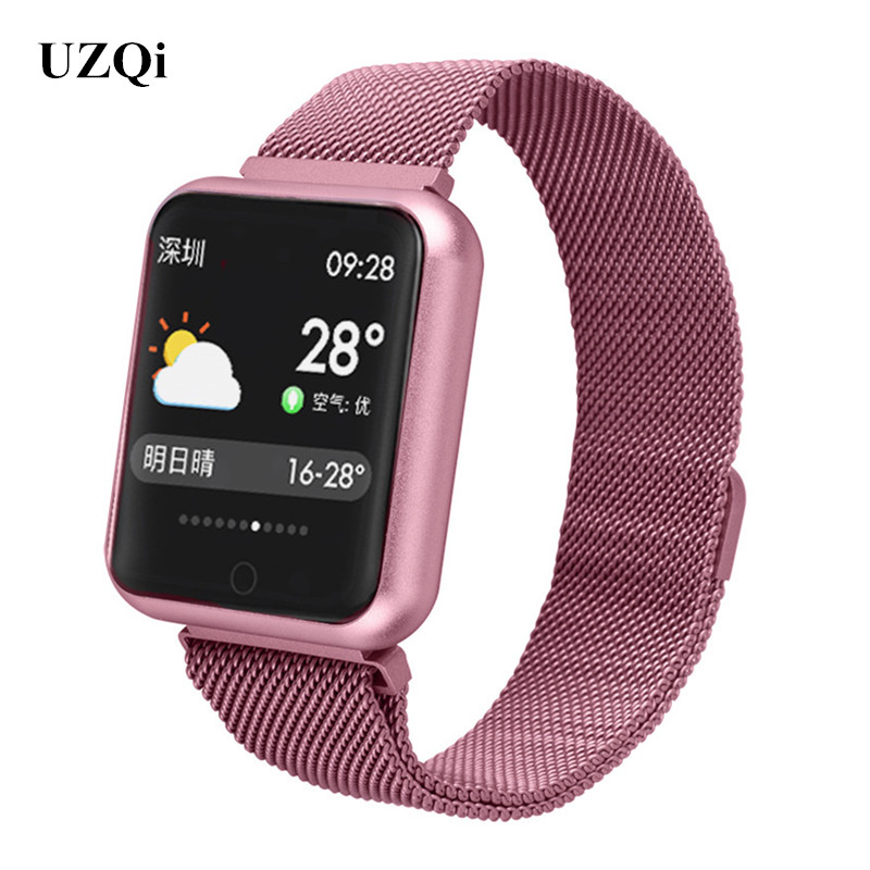 Smartwatch IP68 Waterproof Fitness Heart Rate Blood Pressure Activity Tracker Women Android IOS Phone Metal Smart Watch for Swim