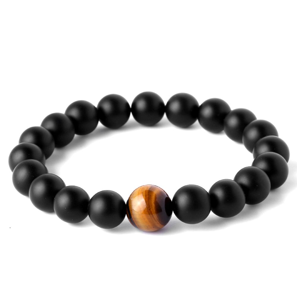 Magic Fish Bracelets & Bangles Bracelet men Natural black stone Beaded bracelet Fashion tiger eye stone Pulseira masculina