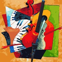 Diy Oil Painting Picasso Abstract Oil Painting Diy Digital Painting Instrument Coloring By Numbers Guitar