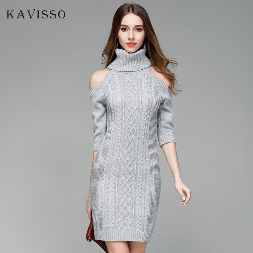 KAVISSO 2017 Women Open Shoulder Sexy Slim Mini Club Sweater Dress Fashion Turtleneck Pullover Knitted Sweater Bodycon Dress цена