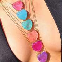 Newranos pedra fusão pedra coração colar 10 cores birthstone pingente colares de cristal longo corrente colares festa jóias