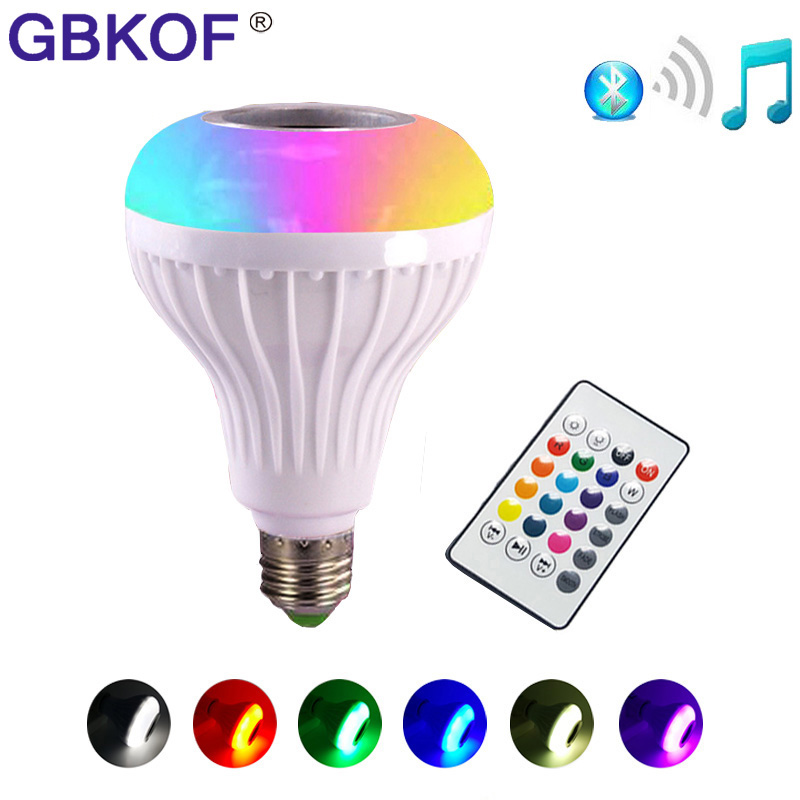 RGB LED Light Bulb E27 12W Wireless Bluetooth Speaker Music Playing 16 Color Lamp Bulb Lighting Muis Bulb With Remote Controller led rgb bulb lamp app remote control e27 speaker bluetooth 4 0 music led night light