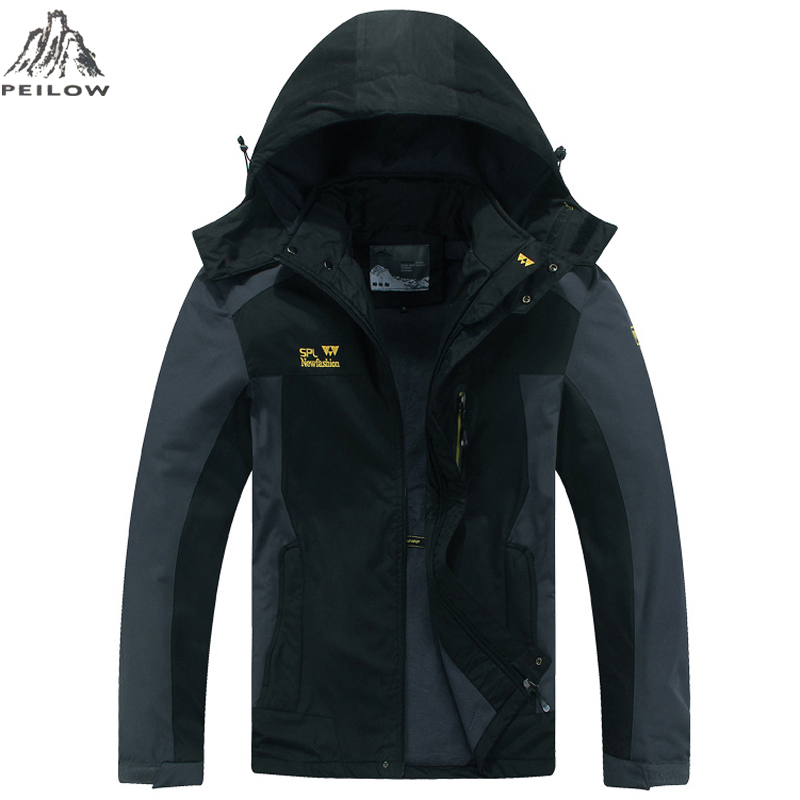 PEILOW Spring autumn Jacket Mens Hood Windproof Windbreaker Jacket Men Breathable thin Jackets And Coats Size L-5XL,6XL,7XL,8XL