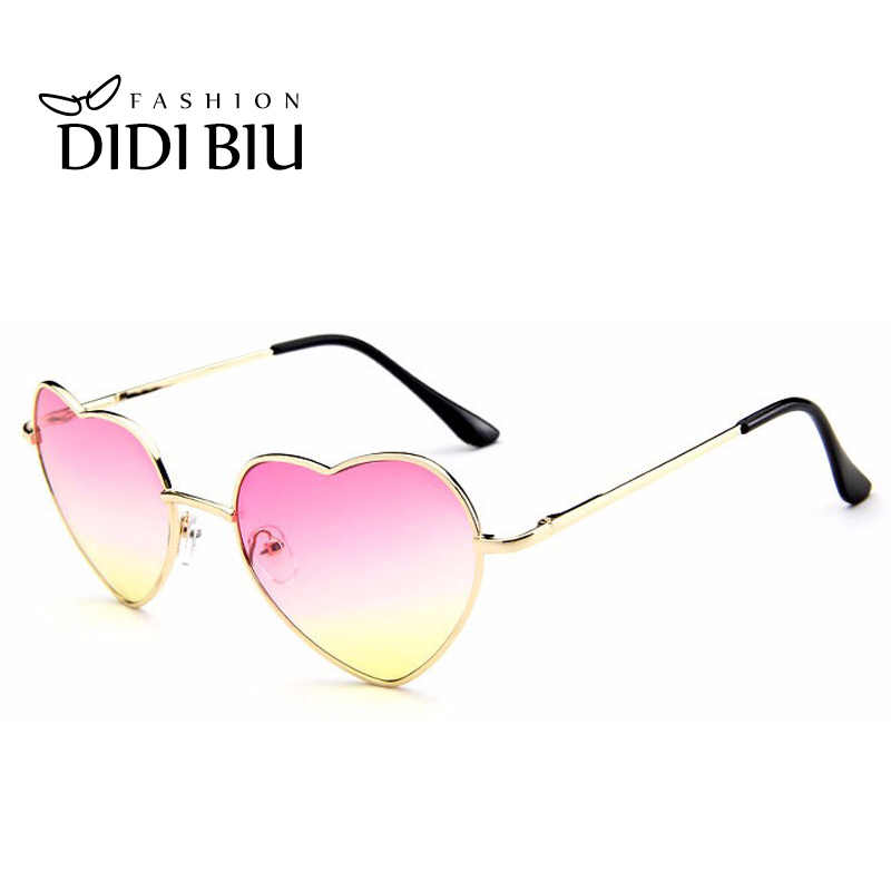 875c4d1efe ... DIDI en forma de corazón de gafas de sol mujer marca Rosa degradado de  Color de ...