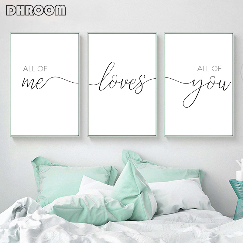 Painting Nursery Posters Wall-Pictures Couple Bedroom Decor Quotes Canvas Print Minimalist