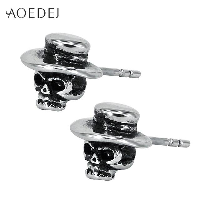 Aoedej Hat Silver Color Skull Earrings Stainless Steel Punk Cool Men Biker Ear Studs For