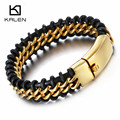 Kalen New Retro Leather Bracelet Fashion Cool 316 Stainless Steel Dubai Gold Plated Charm Bracelet Men's Wholesale Jewelry Gifts