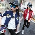 Pouco meninas grandes flores bordados jaquetas meninas outono esportes jaqueta de beisebol ativo azul vermelho meninas roupas tops de manga longa