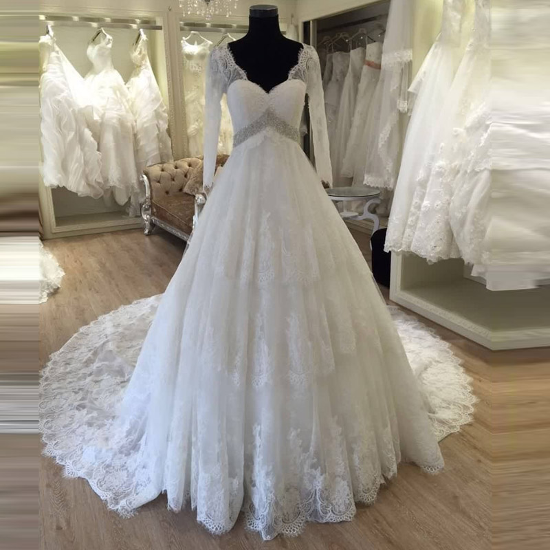 Maternity Wedding Dress Pregnant 2016 Long Sleeve vestido de noiva ...