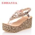 ENMAYDA New Fashion Shoes Women Flops Rhinestone Wedges Sandals Casual Platform Flip Flops Women Summer Shoes Big Size 34-47