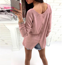 Womens Sexy Loose O Neck Zipper Casual Long Sleeve Jumper Pullovers Blouse Tops Women Slim Sexy pullover Female elastic pullover