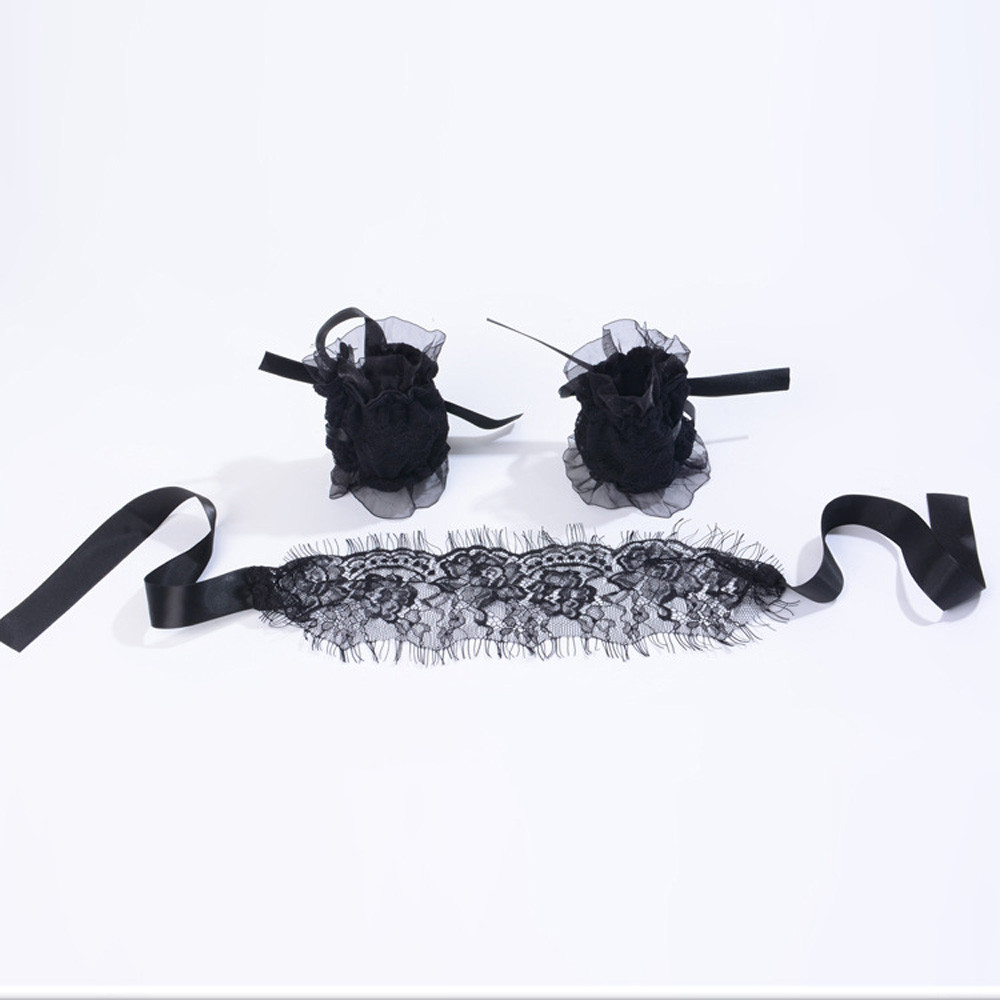 Womens Sexy Super Quality SM Lace Eye Mask With Handcuffs Bracelets Three Sets Travel Relax Sleeping p# dropship323