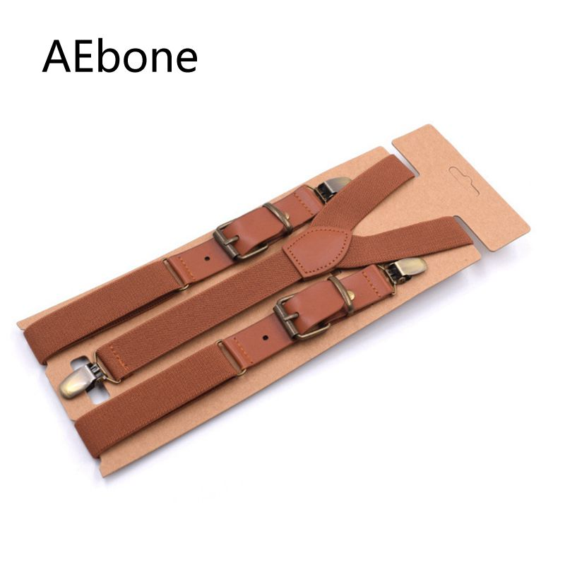 AEbone Suspenders Male Patch Leather Tirantes Hombre Trouser Strap Mens Braces For Trousers Heren Bretels Brown Navy 115cm Sus34
