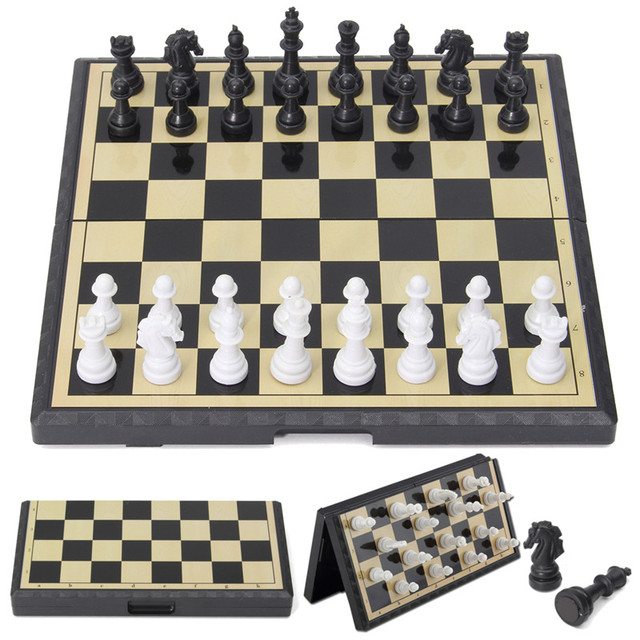 Magnetic Folding Chessboard Chess Board Box Portable Kids Table Games Board  Toy Puzzle Kit Funny Family
