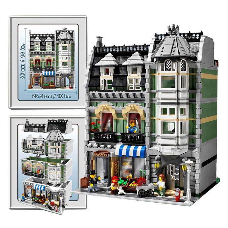 Street Series Green Grocer Model Block Toys Compatible 2462pcs Education Gifts For Children Lepin City Building Blocks Set 15008 lepin 02012 city deepwater exploration vessel 60095 building blocks policeman toys children compatible with lego gift kid sets