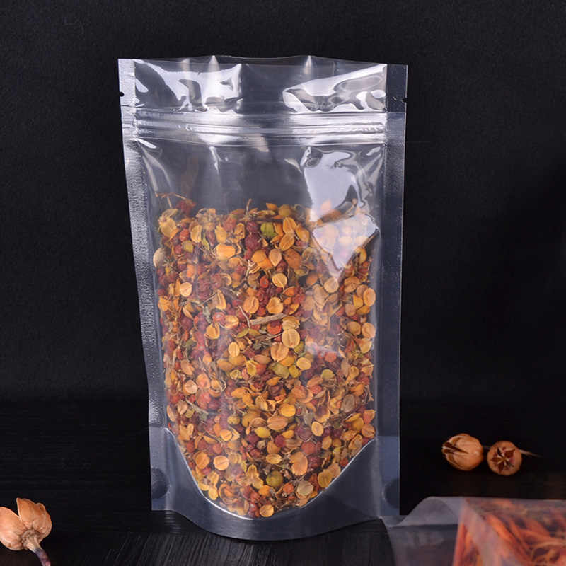 plastic bags transparent Dry Fruits Coarse Cereals liquid Self-sealed bag vertical  storage food packaging bags 100pcs