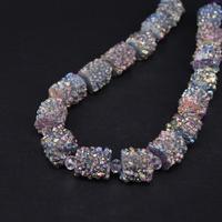 Approx17PCS/strand Rainbow Titanium Natural Quartz Geode Drusy Column/Cylinder Nugget Beads,Roug Agates Crystal Druzy Pendants