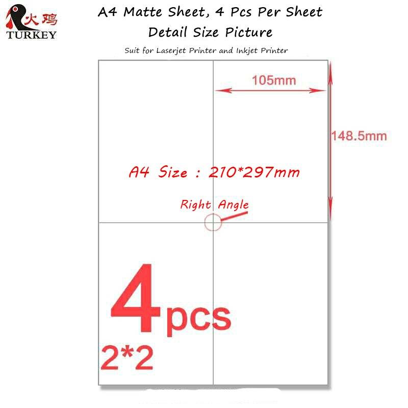200 stücke 105mm * 148,5mm adresse label aufkleber (50 blätter A4) GL-04