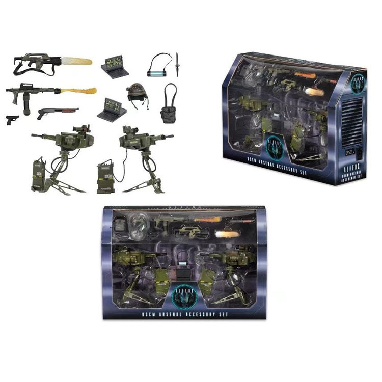 Deluxe 14pcs/pack NECA ALIENS Uscm Arsenal Accessory Set PVC Action Figures Collectible Model Toys neca gears of war 2 action figures boys hobby toys games collectable 7dominicsantiago figures are