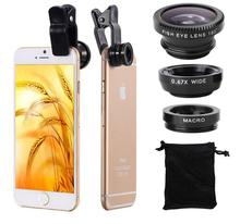New Universal 3in1 Clip-on Fish Eye Lenses Wide Angle Macro Mobile Phone Lens For iPhone 5S 6 Samsung Galaxy S6 S5 HTC All Phone