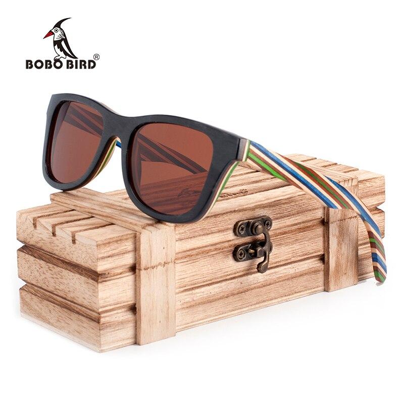 ac2b8e91ac BOBO BIRD Brand 100% Nature Wooden Color Stripe Frame Sunglasses Women Man  Polarized Steampunk Sun